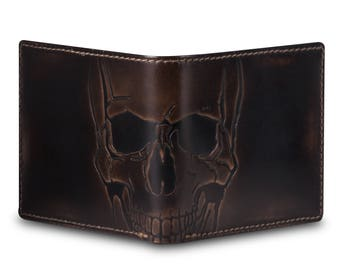 SKULL BIFOLD Embossed Men's Leather Wallet • PERSONALIZED Mens Wallet • Gifts for Men • Best Men's Wallet