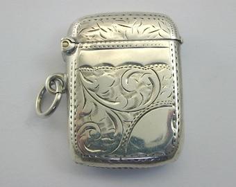 Antique 1907 silver Vesta case 13.8g 39mm by 29.3mm