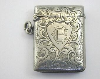 Antique 1904 silver vesta case 18.4g 31.8mm by 42.25mm