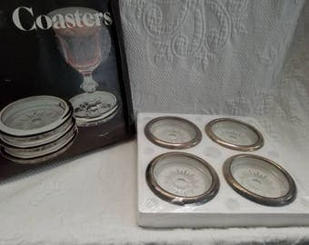 Vintage Old Stock Crystal and Silver plate coaster set