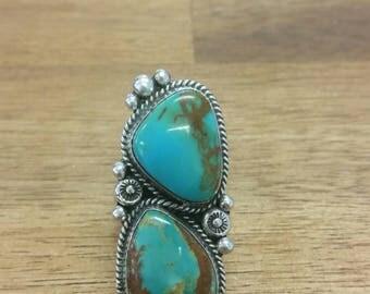 Turquoise Mountain Ring Navajo Handmade