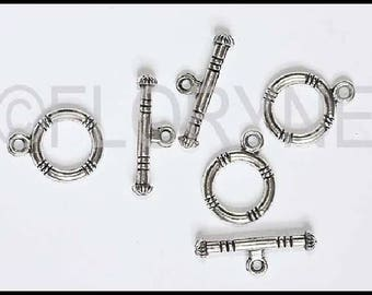 3 lobster buoy in antique silver Toggle clasps