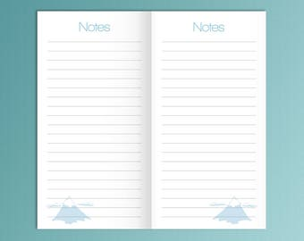 Midori Travelers Notebook Insert NOTES Fits Foxy Fix 6 Blue Refill Printable Lined Paper Midori 8.25 x 4.33 Instant Download.