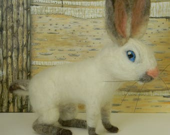 white bunny rabbit soft sculpture, needle felted bunny rabbit