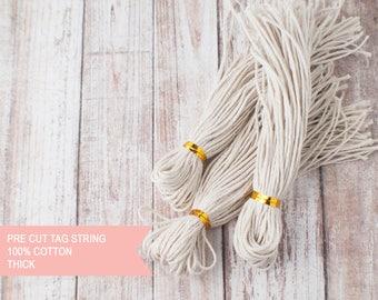Thick 100% cotton natural string pre-cut tag string- 50pcs x 24cm