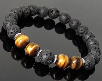 ON SALE NOW Men's Women Bracelet Lava Rock Brown Tiger Eye Tibetan Silver Yoga Mala DiyNotion Handmade T277