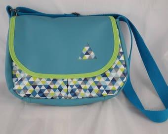 Sac026 - Blue and green pattern Hobo geometric