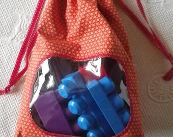 Pochette011 - Pouch / bag orange and red window