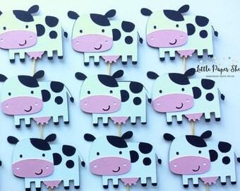 Handmade Cupcake Topper - Cow Farm Theme x 12