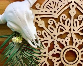 Mandala wall art. Laser cut wood mandala