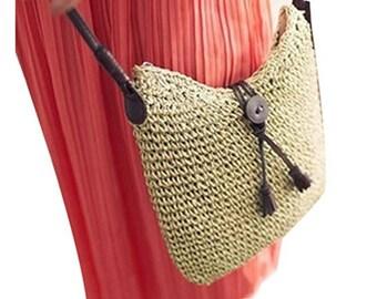 Crochet Straw Tote Handbag