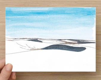 White Sands National Monument in New Mexico - Desert, Dunes, Sky, Gypsum,  Ink Drawing, Sketch, Watercolor, Art, Pen and Ink, 5x7, 8x10