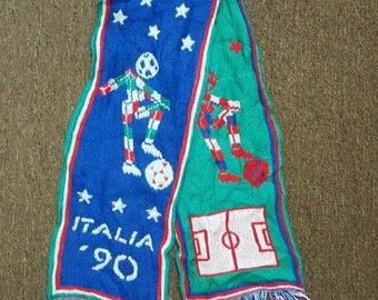 MEGA SALE 25% Vintage scarf football mafla Italy italia 1990 worldcup