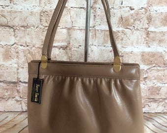 Vintage Handbag Tote Beige Real Leather Made In England By Suzy Smith Wedding Occasion Prom Ball Party c 1980s NEW