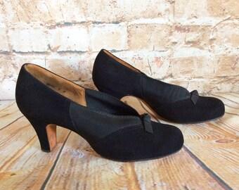 Vintage Novic Colorfit Shoes c 1940-50s Black Suede Elasticated Sides 3in Heel Size 4 UK