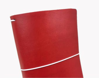 Red Leather Travelers Cover - Vegetable Tanned - CityGirl Collection - Christmas Carmine - Notebook - Full Grain - Journal - Hand-Dyed