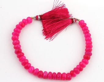 Mega Sale 1 Strand Pink Chalcedony Faceted Rondelle  - Pink Chalcedony Rondelle Beads 8mm 8 Inches  SB188