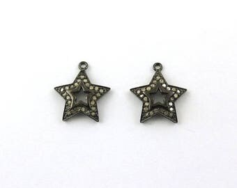 Mega Sale 1 Pc Pave Diamond Star Charm Over 925 sterling Silver Pendant - 19mmx16mm PDC229