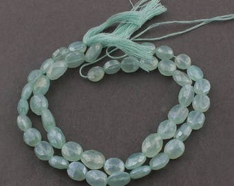 Valentines Day 2 Strands Green Chalcedony Silver Coated Faceted Center Drill Briolettes - Oval Shape Beads 8mm-11mm 8 Inches Sb4501