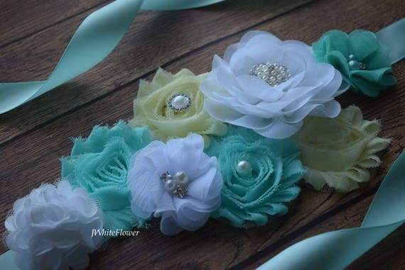 Flower Sash, aqua white yellow Sash  , flower Belt, maternity sash
