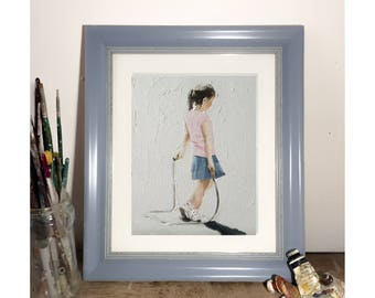 Skipping Painting Skipping Art Playing Art PRINT Girl Painting Skipping Girl - Art Print - from original painting by J Coates