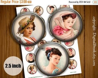 SALE 50% Retro Lady 2.5 inch Digital Collage Sheet Printable circle images for Pocket Mirrors Magnets Labels Gift Tags Scrapbook - 051