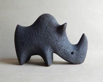 Ceramic sculpture - rhinoceros, figurine, black, art and collocation, original gift, handmade ceramics, animal figurines