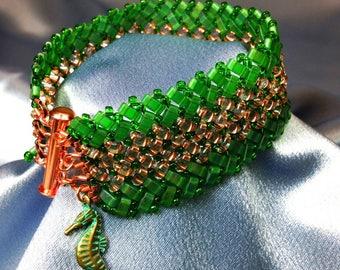 Evergreen-Herringbone Woven Beaded Bracelet