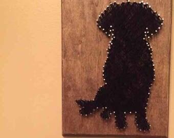 Black labrador string art