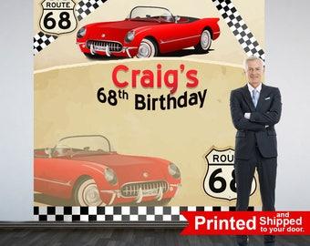 Vintage Car Party Personalized Photo Backdrop -Corvette Photo Backdrop- Birthday Photo Booth Backdrop, 60th Birthday, 50th Birthday