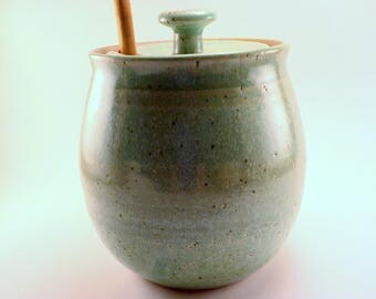 Honey Pot with Chameleon Green Glaze