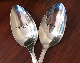 Hand Stamped Naughty and Nice Spoons