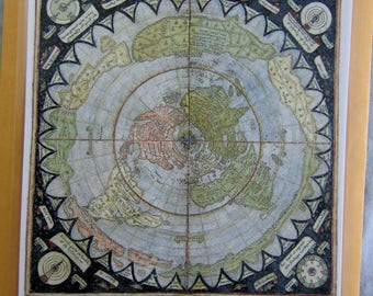 Laminated Small Flat Earth Air Age Azimuthal Equidistant Polar Projection World Map Monte Urbano Milan