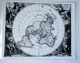Laminated Small Flat Earth Air Age Azimuthal Equidistant Polar Projection World Planisphere Map