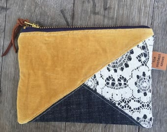 Vintage Velvet and Lace Pouch