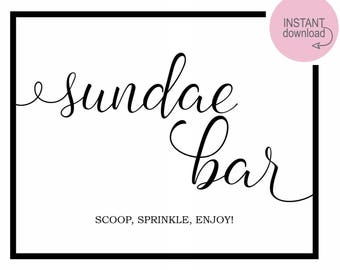 Sundae Bar Sign, Sundae Party, Ice Cream Party Sign, Ice Cream Sign, Sundae Bar, Party Decor, Ice Cream Party, Sundae Sign, Ice Cream Print