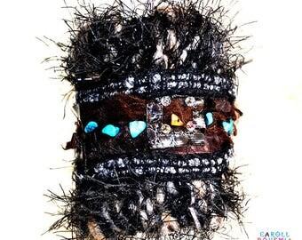 Cuff Bracelet wool, organza, stones, Bohemian