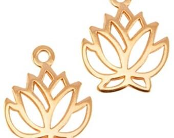 DQ Metal pendant lotus flower-1 piece-19 mm-Zamak-color selectable (color: Rose gold)