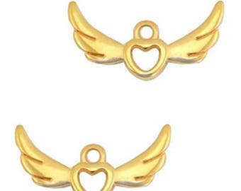 """DQ Metal pendant """"Heart with Wings""""-2 pcs.-Zamak-color selectable (color: Gold)"""