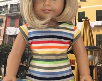 """Striped Cap Sleeve-T  Fits American Girl and 18"""" dolls"""