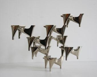 Set of 8 vintage Hammonia Motard Vogelflug modular candle holders - mid century modern retro 1960s chromed Nagel Quist