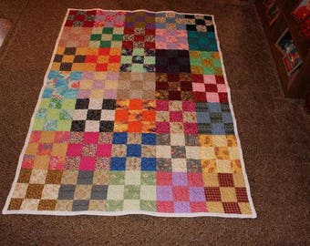Twin Size Patchwork Quilt - Nine Patch Quilt - XL (Extra Long) Twin Quilt - Scrappy Patchwork Handmade Quilt READY To SHIP!!!