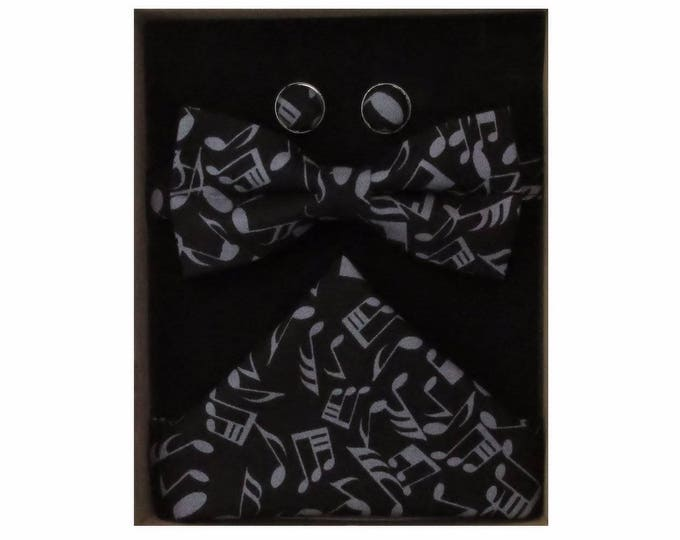 Musical Notes Bow Tie Cufflink and Handkerchief Boxed Gift Set