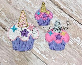 Cupcake Feltie Licorne Cupcake Feltie broderie fichier numérique