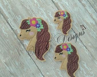 Horse Feltie Horse Head with Wreath Feltie Embroidery File