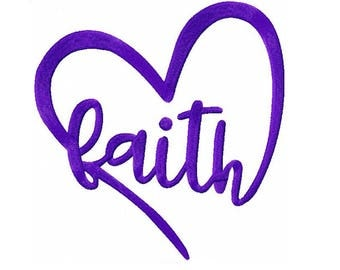 Faith in Heart Embroidery Digital Download