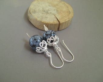 Earrings 'Aliénor' obsidian and sterling silver