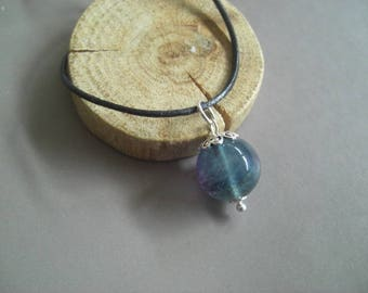 Fluorite and silver Sterling pendant leather Choker necklace