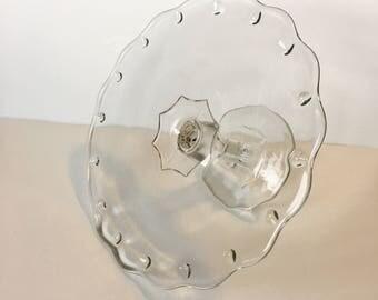 Vintage Clear Glass Teardrop Pedestal Cake Stand