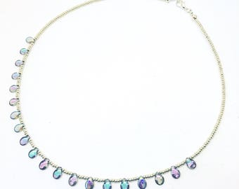 Czech pip bead necklace  - crystal fan necklace